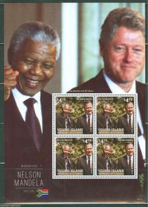YOUNG ISLAND  2014  MEMORIAM   NELSON MANDELA  SHEET PRES. CLINTON BUSH MINT NH