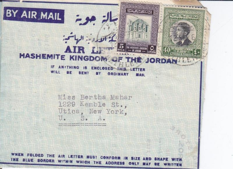 Jordan to Utica, New York, 1962, Air Letter Sheet (12902)
