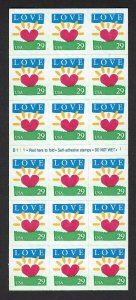 U.S. #2813a LOVE  BOOKLET PANE MINT, NH AT FACE VALUE!