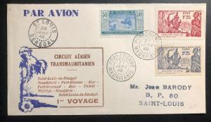 1946 Port Etienne Mauritania First Flight Airmail Cover FFC To St Louis Senegal