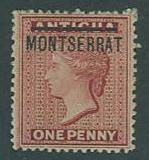 Montserrat SC# 1 (SG#1) Queen Victoria,1d, on Antigua, M-NO GUM