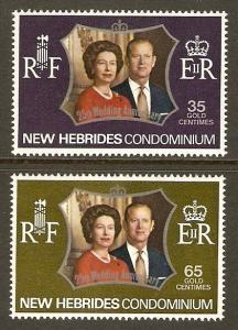 New Hebrides, British #169-70 NH Elizabeth & Philip Weddi...