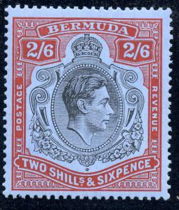Bermuda 1938 sg 117 2/6 black & red / grey blue, Perf 14 LM