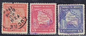 BOLIVIA SC# 221+224-5 **USED**   1935    SEE SCAN