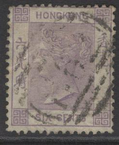 HONG KONG SG10a 1863 6c MAUVE USED
