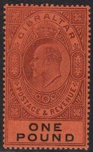 GIBRALTAR 1903 KEVII 1 POUND WMK CROWN CA