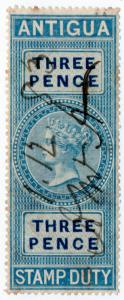 (I.B) Antigua Revenue : Duty Stamp 3d (1870)
