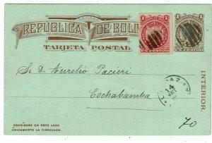 Bolivia 1888 La Paz cancel on uprated postal card to Cochabamba