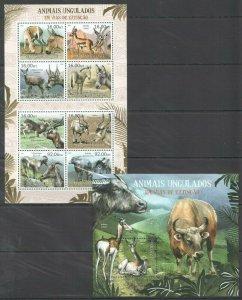 BC964 2012 MOZAMBIQUE FAUNA ANIMALS UNGULADOS BL+KB MNH