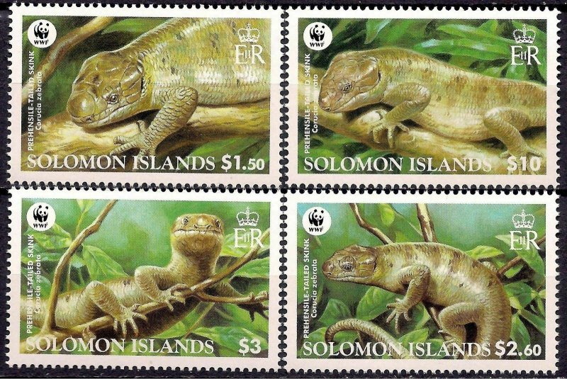 Solomon Islands MNH 1282-5 Prehensile-tailed Skink Reptile WWF 2005