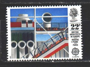England. 1987. 1106 from the series. Cent Pompidou in Paris. MNH.