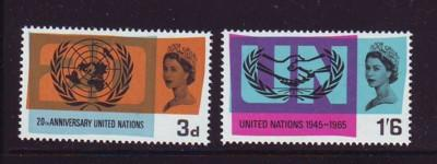 Great Britain Sc440-1 1965 UN & ICY stamps NH