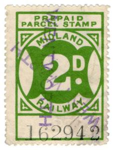 (I.B) Midland Railway : Prepaid Newspaper Parcel 2d (Wentworth)