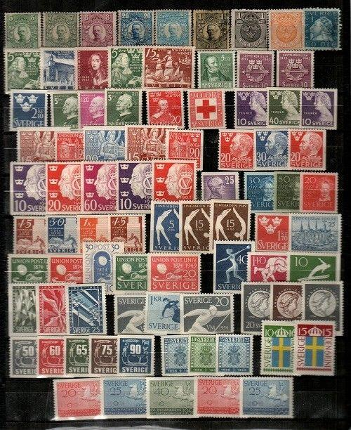 Sweden Scott 77 // 491 Mint hinged - 2 used (many sets, clean lot) - CV $126.95