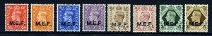 MIDDLE EAST FORCES KG VI 1943-47 Overprinted M.E.F. Set SG M11 to SG M18 MINT
