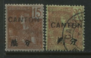 France Offices in China 1901 overprinted Canton on Indo-China 15¢ mint, 20¢ used