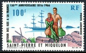 St Pierre & Miquelon C33, MNH.  Arrival of Settlers. Ship, 1966