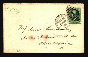US 1882 Cincinnati Ohio Cover to PA - Z18562
