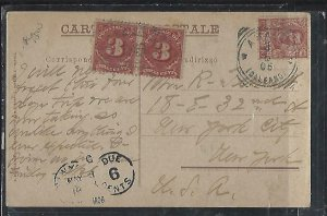 UNITED STATES  COVER (P0512B) 1906 INCOMING PPC FROM ITALY POSTAGE DUE 3CX2