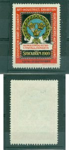 Sweden. Poster Stamp 1909 MNG. Art-Industry Exhibition Stockholm. Three Crown