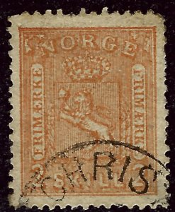 Norway 1867 Sc #12 Used VF couple short perfs Cat $30...Great Value!