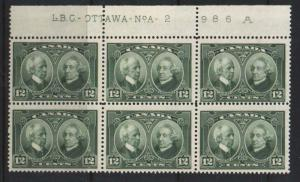 Canada #147 NH Mint Plate #2 Block Of Six