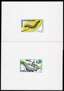 Central African 1973 Sc#190/192 CATERPILLARS-INSECTS 3 DELUXE S/S IMPERF.MNH
