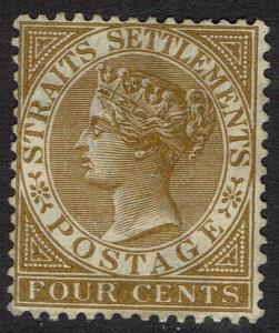 STRAITS SETTLEMENTS 1883 QV 4C BROWN WMK CROWN CA NO GUM