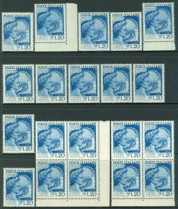 ITALY : 1950. Sassone #614. 20 stamps. Very Fine, Mint Never Hinged Catalog €300
