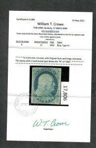 US Sc#9 M/H/F-VF, Crowe Cert, Cv. $725