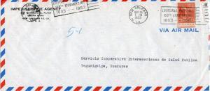 U.S. Scott 815 Prexie Solo On Airmail Cover to Honduras