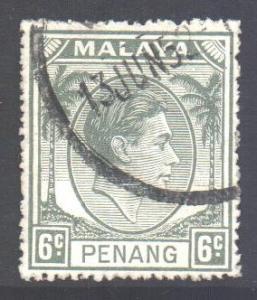 Malaya Penang Scott 8 - SG9, 1949 Sultan 6c used