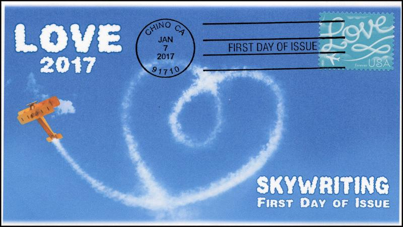 17-004, 2017, Love, Sky Writing,, First Day Cover, Black and White Postmark