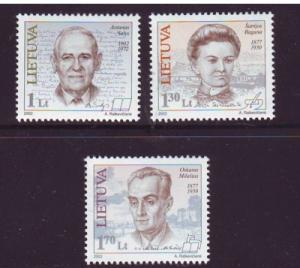 Lithuania Sc713-5 2002 Famous Lithuanians stamps NH