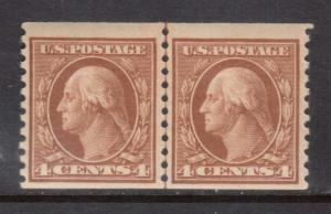 USA #495 NH Mint Coil Line Pair