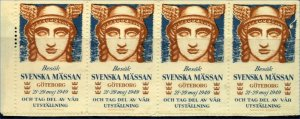 Sweden 1949 Mass and Exhibition Visitor Labels Goteborg Strip of 4  Cinderellas