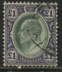 Transvaal KEVII 1904 £1 violet & green used