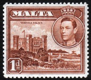 Malta KGVI 1938 1d Red-Brown SG219 Mint Hinged