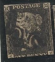 GB SC #1 Penny Black Used Plate 8 Deep Cut Bottom Margin
