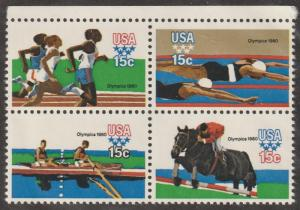 USA Stamps, Scott# 1791-1794,  block of four, Olympics, running, swimming,