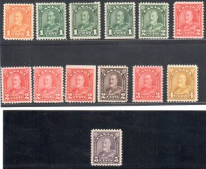 Canada #162 to 177 MINT NH Set With varieties $2,300.00