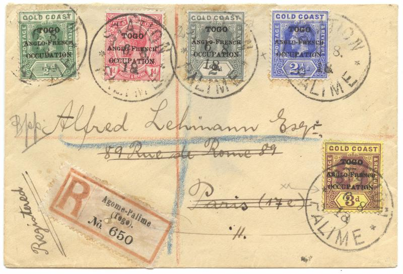 Togo 1918, British Occupation, Station Palime, R-cover to France, forwarded