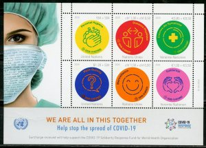 UNITED NATIONS 2020 ANTI VIRUS WE ARE IN THIS TOGETHER SHEET MINT NH