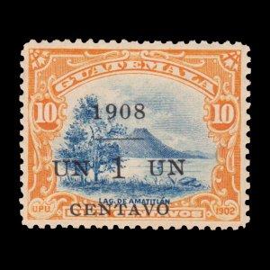 GUATEMALA STAMP 1908 SCOTT # 133. UNUSED. OVERPRINTED