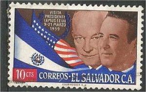 EL SALVADOR, 1959, used 10c,Presidents Eisenhower Scott 705