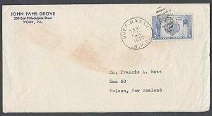 USA 1937 cover to New Zealand ; BUFF & WASH / RPO railway cancel............J869