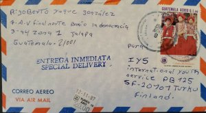 A) 1987, GUATEMALA, FROM JALAPA TO FINLAND, AIRMAIL, SPECIAL DELIVERY, FESTIVAL