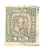 Iceland Sc O32 1907 4 a 2 Kings Official stamp used