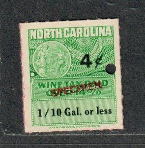 North Carolina State Revenue Stamp Sc#w48s Wine
