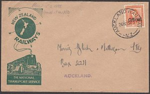 NEW ZEALAND 1954 GVI 2d Official on Railway cover AUCKLAND RAILWAY cds......B424
